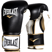 Перчатки боксерские  Everlast Powerlock PU Black/White/Gold